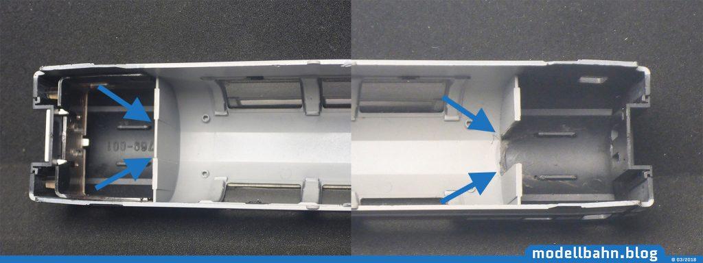 Damit die Innenbeleuchtung eingebaut werden kann und auch den Einstiegsbereich samt der Fenster der Türen erhellen kann, wurden die Türbereiche freigeschnitten.
